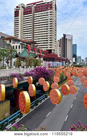 Singapore-february,2015.chinese New Year, Christmas Decorations Street In Singapore, February 2015