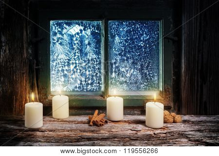 Fourth Advent, Christmas Decoration With Candles