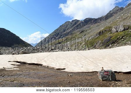 Mountain Panorama And Snowfield In Hohe Tauern Alps, Austria