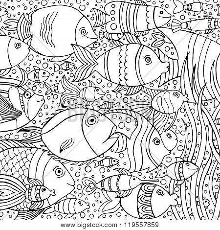 Hand drawn with ink background with many fishes in the water.