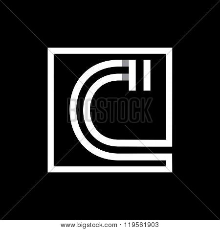 Capital letter C  . Overlapping with shadows monogram, logo, emblem.