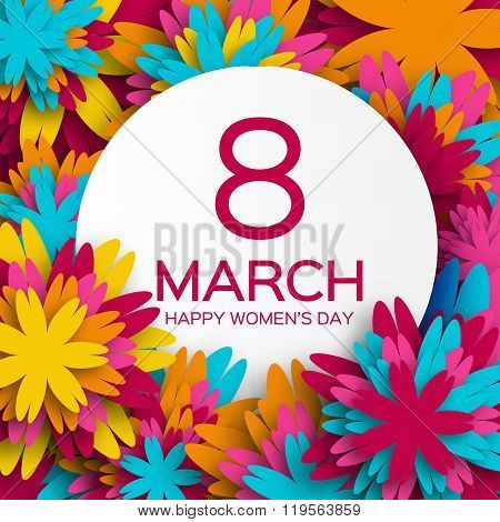 Abstract Colorful Floral Greeting card - International Happy Women's Day - 8 March holiday backgroun