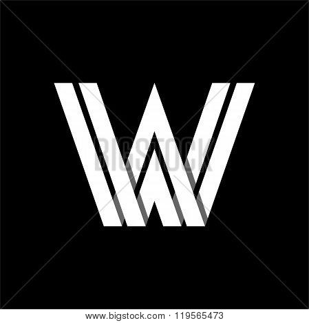 Letter W wide white stripes . Logo, monogram, emblem trendy design.