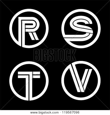 Capital letters R, S, T, V. From double white stripe .