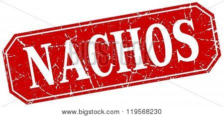 nachos red square vintage grunge isolated sign