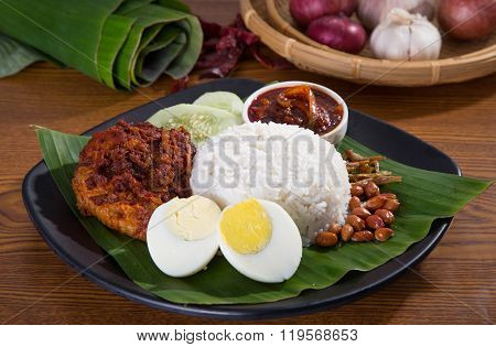 Nasi Lemak, A Traditional Malay Curry Paste Rice
