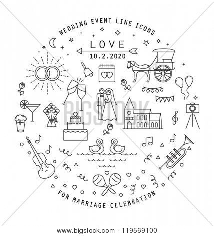 WEDDING LINE ICONS COLLECTION. Can be used in wedding invitation design, cards, websites,blogs and more... Editable vector illustration file.