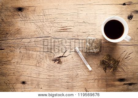 Weed Marijuana Hashish Roll Wood Background