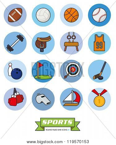 Round sports filled line icons vector set 1. Collection of sports filled line vector icons in blue toned circles