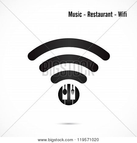 Wifi Sign,music And Restaurant Icon Vector Design.wifi,spoon And Fork Symbol.music And Restaurant Wi