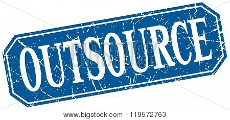 outsource blue square vintage grunge isolated sign