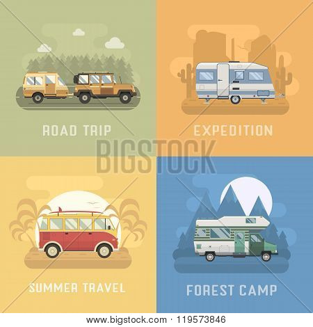 Rv Travel Concept Landscapes In Flat Design