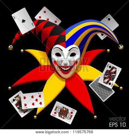 Joker head with playing cards isolated on black. Three Dimensional stylized drawing. Vector illustration