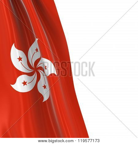 Hanging Flag Of Hong Kong - 3D Render Of The Hong Kongese Flag Draped Over White Background