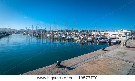 morning in the harbor of St Antoni de Portmany, Ibiza town, Balearic Islands, Spain