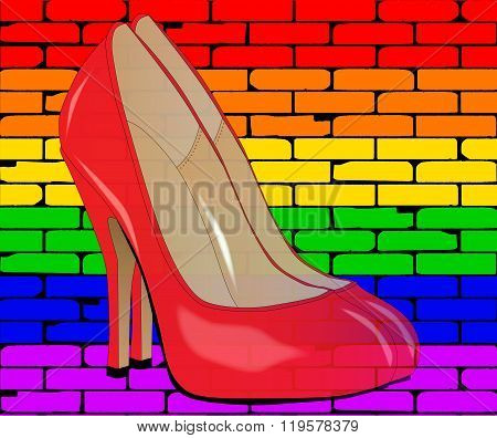 Lgbt Painted Wall With Shoes