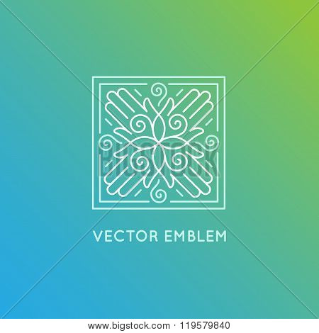 Vector Logo Design Template In Trendy Linear Style