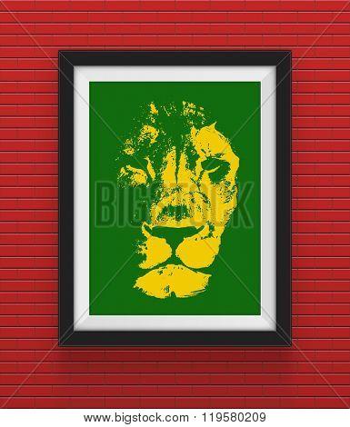 Frame with lion. Rasta concept. Vector illustration