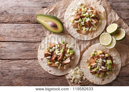 Mexican Food: Tortilla With Carnitas, Onions And Avocado. Horizontal Top View