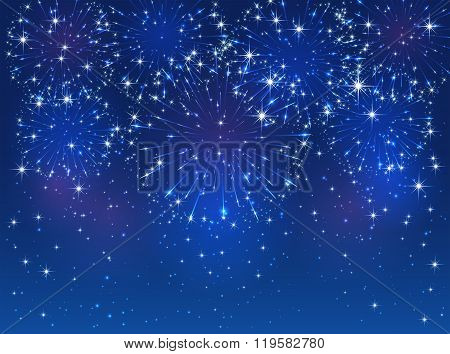 Blue Firework On Sky Background