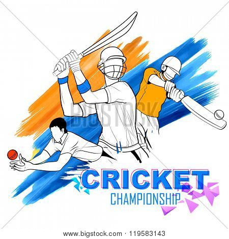 illustration of batsman playing cricket championship