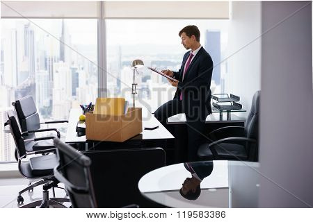 Just Hired Executive Business Man Moves To New Office