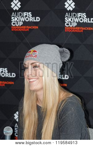 STOCKHOLM SWEDEN - FEB 23 2016: Smiling Lindsey Vonn at the press conference before the Audi FIS Alpine Ski World Cup - Men's and Woman's city event February 23 2016 Stockholm Sweden