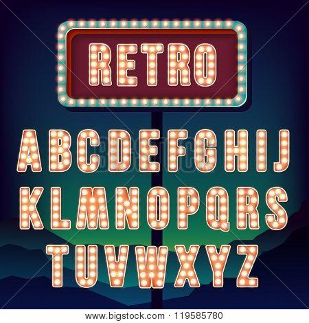 Vintage letters. Set of retro neon alphabet.