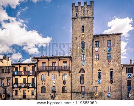 Piazza Grande the main square of tuscan Arezzo city Italy poster