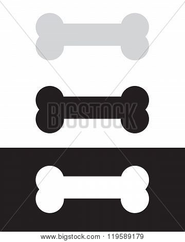Vector Dog Bone Set in Colour, Black and Reverse