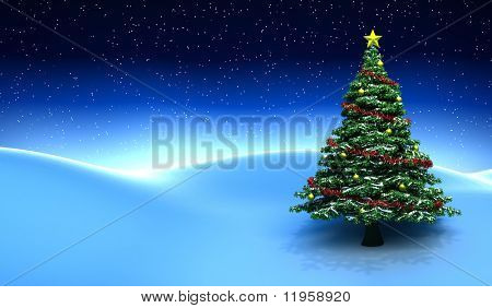 Winter scene with Christmas tree - 3D render