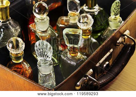 Vintage Perfume In The Old Suitcase