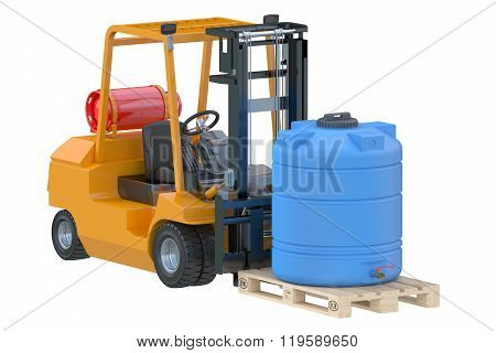 Forklift Truck With Water Tank On Pallet