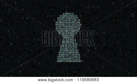 Security Concept: Hex Code And Binary Code In The Keyhole. Cybersecurity