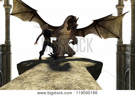 Big strong dragon with wings fighting with a person