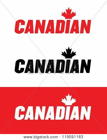 Vector Canadian Wordmark in Red, Black and Reverse