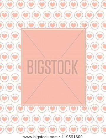 Cute Vector Heart Patterned Frame and Invitation Template