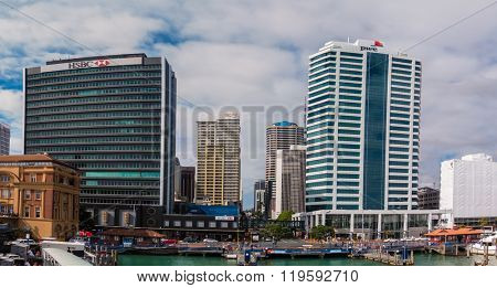 AUCKLAND, NZL -JAN 13 2016: Auckland downtown.The CBD of Auckland has been the leading centre of New Zealand's business and economic development for nearly two centuries.
