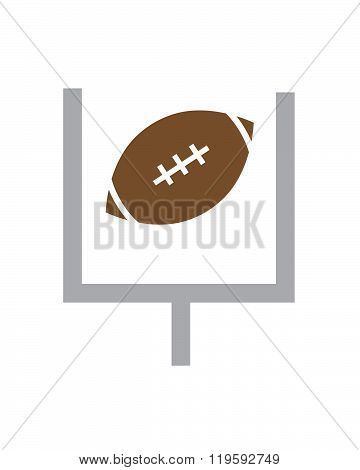Vector Football and Field Goal Post Set
