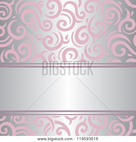 Pink & silver invitation vintage retro vector design