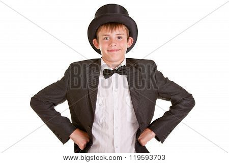 Smiling Young Boy In Formal Wear With Top Hat