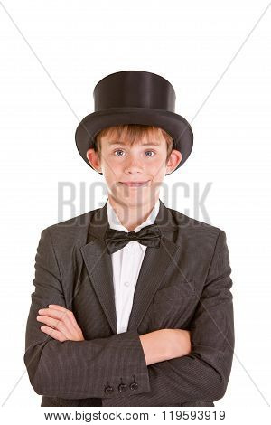 Dapper Confident Young Boy In A Top Hat