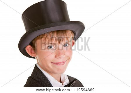 Happy Boy Wearing Formal Attire With Top Hat