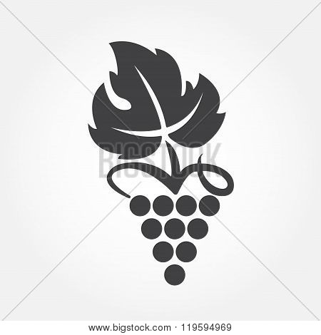 Grape icon or symbol. Design element for winemaking, viticulture, wine house. Vector.