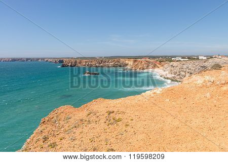 Coastline and beach in Sagres Algarve Portugal poster