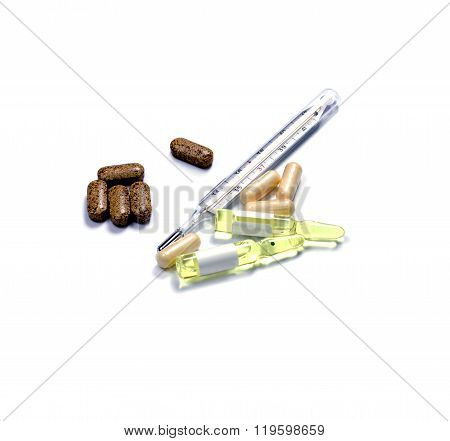 Thermometer, Ampoules And Capsules With Medicine, Isolate