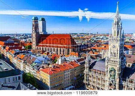 Munich Frauenkirche And New Town Hall Munich, Bavaria, Germany
