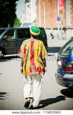 Rastaman Wearing Tradition Al Rasta Hat, Rear View