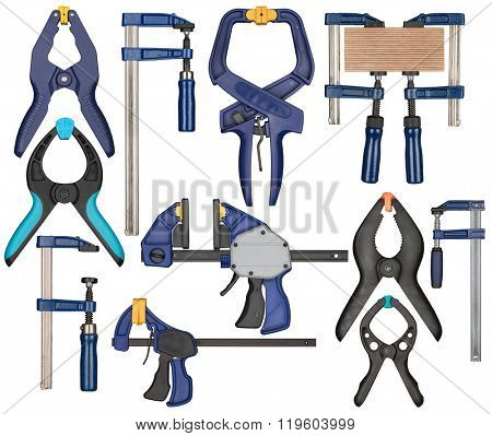 Various bar clamp with quick release. Tools can be used in carpentry, woodworking or other crafts.