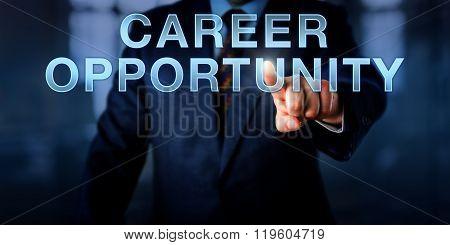 Recruiter Pushing Career Opportunity.